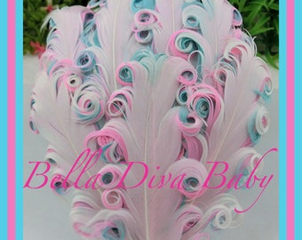Nagorie curled Feather Pad 3 tones - white-aqua- pink- Elegant curly goose feathers  for vintage headband DIY for Photo prop