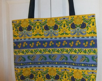 Blue and Yellow Provincial Print Cotton Tote, Navy Blue Handles