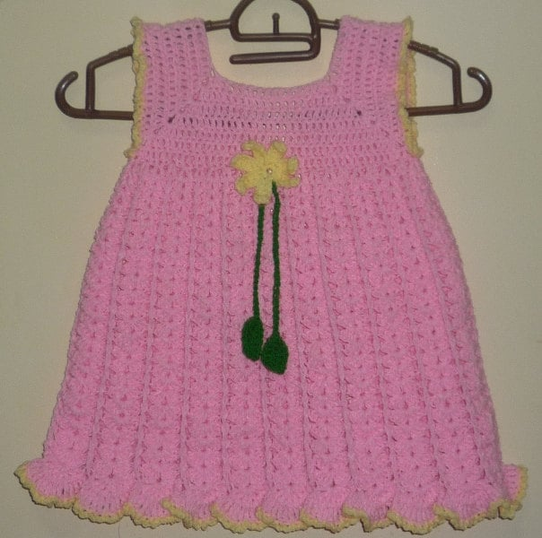 Knitted Dress Pattern For 2 Year Old : crochet baby dress pattern for one year to two year old kids