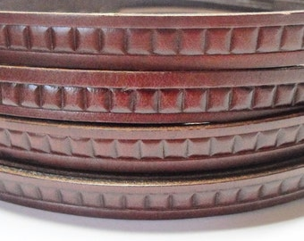 Pre Cuts:  Italian Bordeaux Tiles Flat Leather Cord, Designer leather Finding, Jewelry Making Craft Supplies, supplier