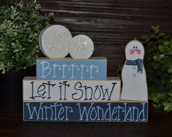 Christmas Decor Let it Snow Holiday Decor Block Set Snowman Shelf Sitter Winter Wonderland Holiday Decoration Snowball Winter Decor Block