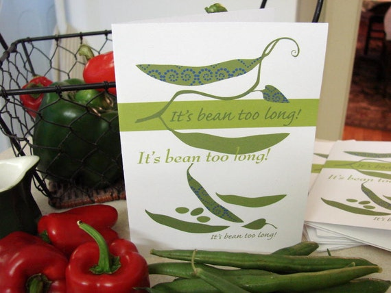 It's BEAN too long! - Note Cards (5) -  designed by linda santell