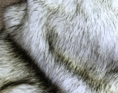 Faux Fur Fabric Exotic White with Black Tip  Wolf  plus 4 more Styles Exotic Faux Fur for Crafts, Sewing, Baby Photo Props