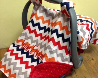 Baby infant boy carrier canopy car seat tent cover minky chevron monogram personalized gift