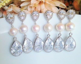 set of 4 bridesmaid gift,set of 4 bridesmaid earrings,maid of honor gift,crystal earrings,cubic zirconia earrings,wedding earrings,tear drop