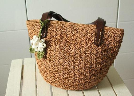 Crochet Straw Beach Bag Tutorial And Pattern : PDF crochet raffia straw summer bag pattern,tote pattern ...