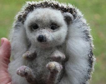felted Hedgehog- soft sculpture-felted wild animals-felt toys