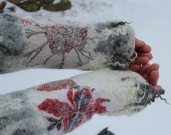 Felted Mittens Fingerless  Gloves Nunofelt Fiber Art winter white-red