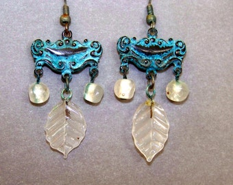 Earrings, Vintage Brass, verdigris, vintage glass beads * 451