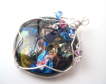 Wire wrapped Dichroic Pendant, Multicoloured Fused Glass Pendant Necklace,  Swarovski crystals, Handmade jewelry, Dichroic Glass Cabochon