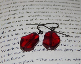Uniquely Shaped Red Stone Earrings