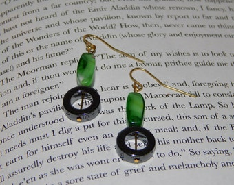 Bright Green and Hematite Circle Earrings