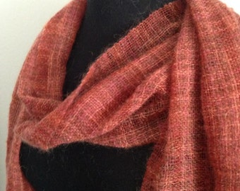 Autumn Whisper Handwoven Scarf, Red Scarf, Mohair Scarf, Autumn Scarf, Fall Scarf, Hand Woven Scarf, Woven Scarf, Handmade Scarf