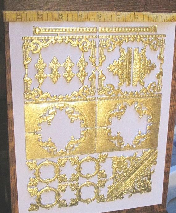 German gold foil dresden embossed ornate corners borders for Silver foil paper craft