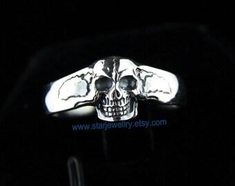 Steampunk small carving skull ring tail skull ring ---925silver ring