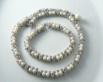 Vintage Bogoff Faux Pearl and Rhinestone Necklace Bracelet Set  Unique vintage, antique, costume and estate jewelry.