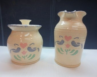 Vintage Cream and Sugar From The 80's Made By Three Rivers Pottery