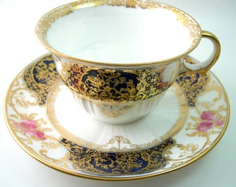 Antique 1890's Wedgwood tea cup and saucer , Cobalt blue, white and Gold tea cup, Cabinet tea cup set
