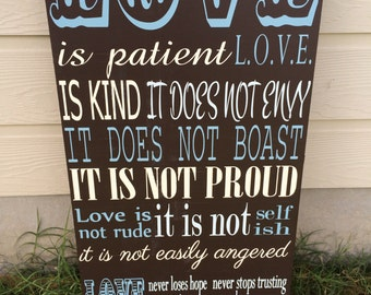 Large Love is patient handpainted wood sign