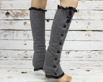 Cable knit ivory leg warmers with lace and buttons chunky leg warmers boot socks over the knee socks birthday gifts christmas gifts