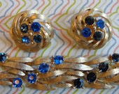 Signed LISNER Gold Tone Bracelet and Earrings with Sapphire and Navy Blue Stones