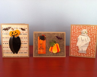 Set of 3 mini Halloween cards with envelopes