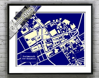 Portsmouth New Hampshire Blueprint Map Poster Art Print Several Sizes Available NH