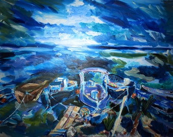 Boats at shore dock Original Oil Painting on 30x40 inch wrapped canvas by BrandanC