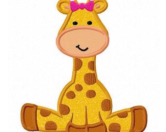 Girl Giraffe baby 01 Applique Machine Embroidery Design NO:0170
