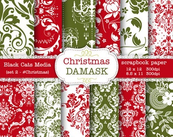Christmas Damask Digital paper 12 x 12 in AND 8.5x11 in -damask Christmas paper for scrapbooking, invites, cards  – seamless pattern