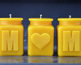 MOM Candle Set, Beeswax Candles, The Mothers Day Gift for The New Mom or Your Mom