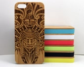 Aztec Pattern iPhone 5C Bamboo Case. Tribal Warrior Mask Ritual Mayan Mexico Columbia Tattoo. Wood Phone Cover. iMakeTheCase Latino Warrior