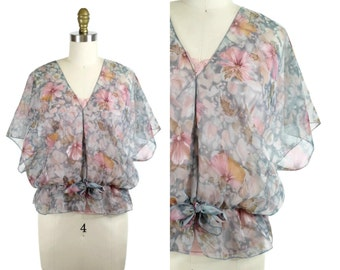 1970s Flutter Sleeve Top / 70s Pastel Floral Chiffon Blouse