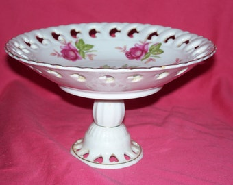 Vintage Lefton China Crimson Rose Pattern Footed Compote