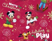 By the Yard Disney Mickey Christmas Holiday Play Cotton Fabric JTH1073