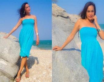 Blue silk chiffon Strapless  Beach evening short Sun dress all size