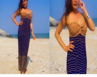 Brown Navy blue strapless Beach evening long maxi dress all size