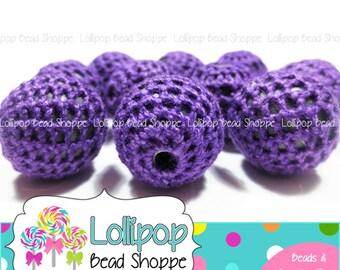 16mm PURPLE Crochet Beads Knit Beads Chunky Beads 10 Covered Beads Crochet Balls Woven Wool Beads Gum Ball Bubble Gum Beads Bubblegum Beads
