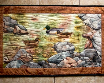 Hand painted fabric art quilt, wallhanging  - Rocky shoreline - fiber art