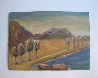 vintage original oil painting seaside, signed