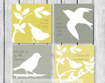 GraphicPRINTS using Sparrow and leaves xwith scripture His eye is on the sparrow greys with yellow lilac or aqua shades