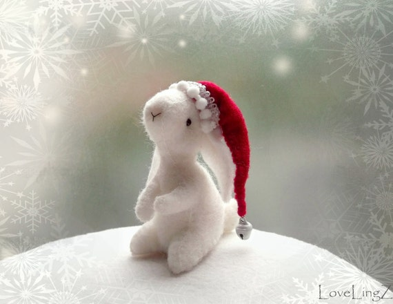 Santa bunny, white felt rabbit, elven fairy christmas hat, decoration plushie