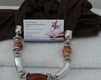 The Chocolate & Silver charm scarf