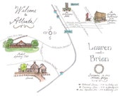 Made to Order - Custom Wedding Map - Illustrated Watercolor Map