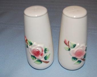 Vintage Salt and Pepper Shakers, Pink Rose Salt Shaker