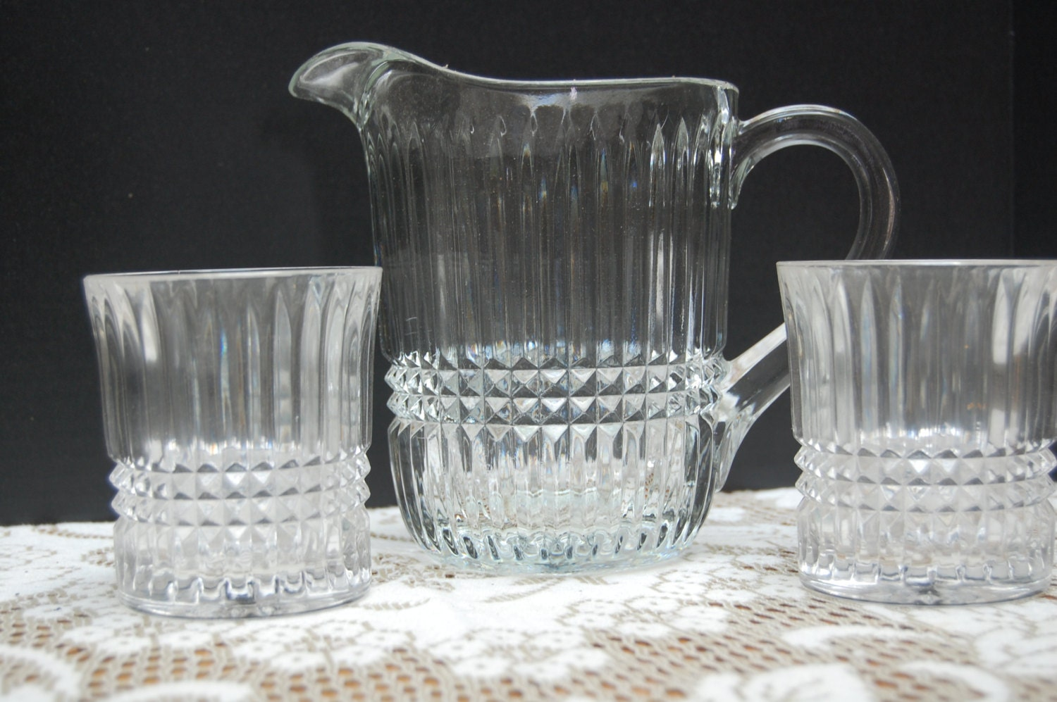 Vintage Clear Crystal Pitcher And 2 Glasses Faucets By Tiara