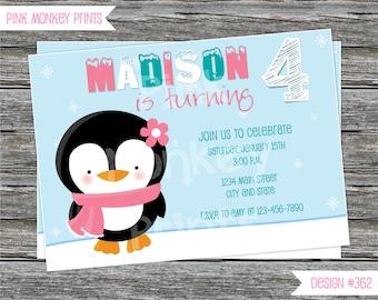 DIY - Girl Penguin Winter Wonderland Birthday Party Invitation - Coordinating Items Available