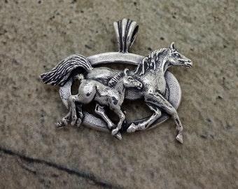 Mare and Foal Horse Pendant - Custom Design