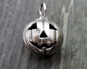 Halloween Jack o Lantern Pendant.  Handmade carved Pumpkin ball to celebrate the Fall in sterling or 14k gold.