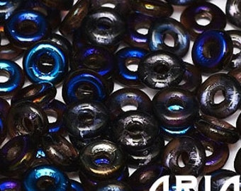 AMETHYST AZURO: O Bead Czech Glass Sequin Ring Bead, Reversible 2x4mm (5 grams)